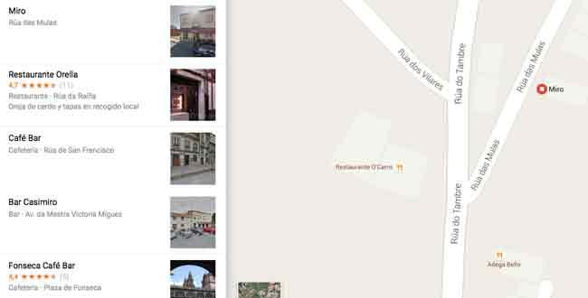 Google maps con bares